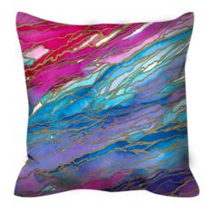 AGATE MAGIC, Pink Aqua Red Lavender, Watercolor Marble Ombre Suede Throw Pillow Cushion Cover 18x18 20x20 26x26 Colorful Waves Agate Decor