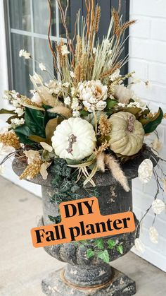 Fall Planters, Fall Containers, Fall Flower Arrangements, Fall Home Decor, Holiday Decor, Diy Thanksgiving Decorations, Front Porch Fall Decor, Fall Church Decorations, Halloween Porch Decorations