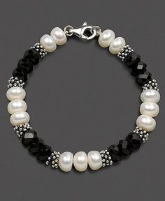 Sterling Silver Bracelet, Cultured Freshwater Pearl and Onyx by becky