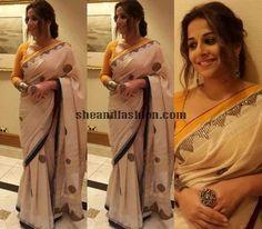Vidhya Balan in Ritu Kumar off-white sequin embroidered Sari for melbourne international film festival