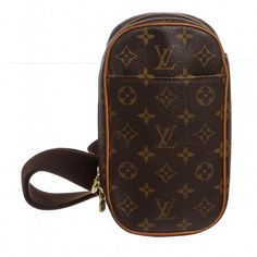 b515074564 Brown and tan monogram coated canvas Louis Vuitton Pochette Gange with  brass hardware, tan vachetta