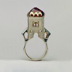 "Ring | Margot diCono (Studio Numen). ""Gate of Barbarossa"".  Sterling silver, 14k gold, Madeira Citrine"