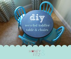 Great idea!  Chalkboard paint to re-surface handed down toddler table!