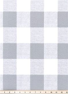Outdoor Buffalo Check Grey - Grey and White Buffalo Check plaid fabric for outdoor lifestyle decorating. Great for poolside, sunroom or patio cushions, upholstery, pillows or table top.