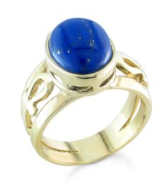 Lapiz Ankh Ring Lapis Double Sided Yellow Gold Beautiful From Afghanistan Engraving Available Egyptian Symbol Band Width Approx
