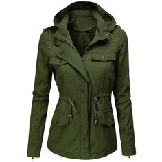 Doublju Womens Lightweight Casual Safari Jackets (€17) ❤ liked on Polyvore featuring outerwear, jackets, tops, lightweight jackets, lightweight safari jacket, green jacket, safari jacket and light weight jacket
