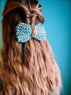 blue and tan hair bow