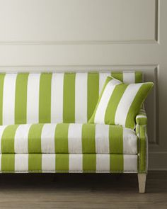 """Shop """"Appletini"""" Striped Sofa from Massoud at Horchow, where you'll find new lower shipping on hundreds of home furnishings and gifts. Find Furniture, Sofa Furniture, Green Furniture, Bold Stripes, Green Stripes, Striped Couch, Green Interior Design, Spring Home Decor, Green Rooms"""