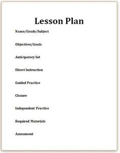 The E Model Our New Lesson Plans E Science Lessons - Direct lesson plan template