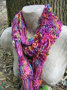 Hand Knit Summer Scarf  Bird Of Paradise by EnchantedKnits on Etsy, $55.00