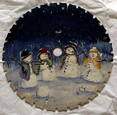"""12"""" Vintage Hand Painted Tole Artist Signed Christmas Theme Snowmen Saw Blade"""