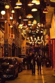 Monastiraki by night, Athens, Greece