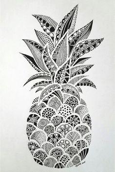 Drawings – Zentangle art – Doodle art – Pineapple art – Doodle drawings – Art drawings – The p Doodle Art Drawing, Zentangle Drawings, Art Drawings Sketches, Drawing Drawing, Zen Doodle, Drawing Tips, Easy Drawings, Flower Drawings, Drawing Projects