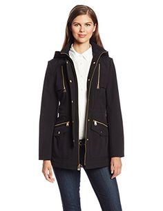 Via Spiga Women's Soft-Shell Anorak Jacket with Gold Hardware -- Click image for more details.