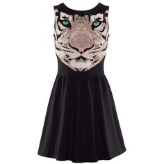 Black Tiger's Head Print Ruched Sleeveless Dress ❤ liked on Polyvore featuring dresses, no sleeve dress, scrunch dress, ruching dress, ruched dress and shirred dress