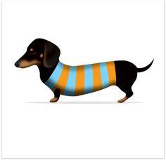 $5.95 Stripey Sausage Dog greeting card
