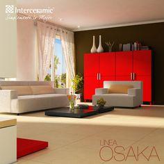 La línea Osaka de #Interceramic trae un modelo de sala moderno, donde es necesario tener un fondo neutral para combinarlo con colores llamativos. Las paredes, pisos y mobiliario pueden ser de color neutro mientras que los toques decorativos son los llamativos.