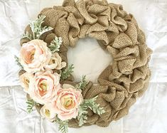 Engagement Mother/'s Day Sweetest Day Natural Burlap Faux Pearl Heart Wreath Bridal Gift Anniversary Wedding Home Everyday Decor