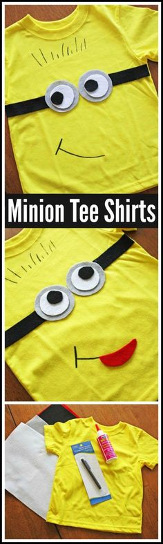 I wanted to find an easy party activity for you to do at your upcoming Minion parties. This Minions tee shirt DIY fits the bill. Plus they make great party favors. Despicable Me Party, Minion Party, Minion Theme, 4th Birthday Parties, Birthday Fun, Birthday Ideas, Ideas Decoracion Cumpleaños, Minion Craft, Shirt Diy