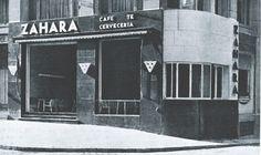 Café Zahara en la Gran Vía, 1930. La cafetería original fue concebida por los arquitectos del edificio: Secundino Zuazo, Martín Domínguez y Carlos Arniches. En ella se seguía el lenguaje racionalista que se había impuesto en Europa impulsado por la Revolución Industrial y en el que la funcionalidad y la sencillez eran sus premisas.