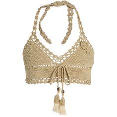 She Made Me Jannah Skirted crochet bikini top ($101) ❤ liked on Polyvore featuring swimwear, bikinis, bikini tops, swim tops, halter top, halter swimsuit tops, cotton bikini and tassel bikini