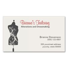 Tailoring services business card tailor business cards alteration seamstress mannequin mannequin business cards reheart Images