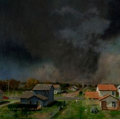 "John Brosio - tornadoes  I've reblogged John Brosio's tornado paintings before, but.  They stir me up a bit, particularly because ""everything getting destroyed by a tornado"" is one of my top five ""most delightful recurring nightmares."""