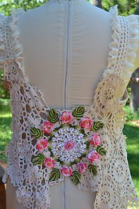 Sewing with lace, fun back of LPW vest