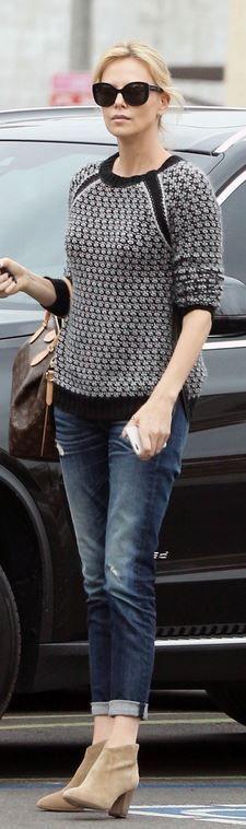 Charlize Theron': Sunglasses – Dolce & Gabbana  Purse – Louis Vuitton  Shoes – Isabel Marant
