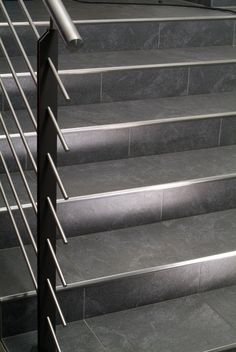 """gives a """"edge"""" to your Blanke's stair product combines design & Available through Tiled Staircase, Tile Stairs, Staircase Remodel, House Stairs, Stairs Tiles Design, Staircase Design, Stair Design, Tile Stair Nosing, Stairs Edge"""