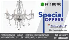 Special offers on lights and chandeliers. Redecorate your home with Taneja. Visit www.tanejasonline.com Now!