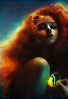 Arielle. Digital paintings of Disney princesses by Claire-Lena McKinley.