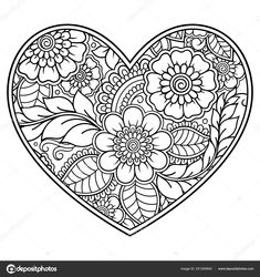 Mehndi flower pattern in form of heart for Henna drawing and tattoo. Mehndi flower pattern in form of heart for Henna drawing and tattoo. Decoration in ethnic oriental, Coloring Pages For Grown Ups, Heart Coloring Pages, Free Adult Coloring Pages, Cute Coloring Pages, Mandala Coloring Pages, Coloring Pages To Print, Coloring Books, Flower Coloring Pages, Art Quilling