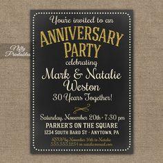 Invitation for surprise birthday party wording h pinterest chalkboard anniversary invitations printable gold cream gray chalkboard invitation 10th 15th 25th stopboris Images