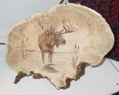 Hand Painted Moose on Adirondack Fungus