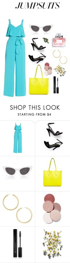 """Summer jumpsuit"" by olivia-ivarsen ❤ liked on Polyvore featuring Adrianna Papell, Christian Dior, LULUS, Yves Saint Laurent, Burberry, BaubleBar, LunatiCK Cosmetic Labs, Forever 21 and jumpsuits"