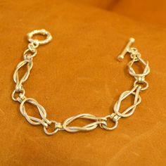 Love Knot  Sailors Knot Sterling Silver link bracelet. womens