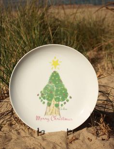 FOREVER PRINTS, porcelain Christmas tree hand print plate, made from your child's hand prints! Kiln fired. Baby's first Christmas