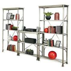 "3-piece storage unit set with powder-coated metal frames and slotted shelving.   Product: Storage unitConstruction Material: Metal and marbleColor: White and silverFeatures: Ten shelvesDimensions: 76"" H x 114"" W x 16"" D"