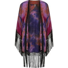 TOPSHOP Tie Dye Tassle Kimono ($120) ❤ liked on Polyvore featuring outerwear, jackets, tops, cardigans, kimono, multi, tie dye kimono, tassel jacket, topshop kimono and topshop