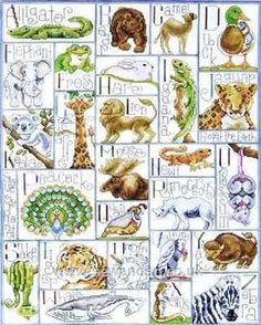 Animal Alphabet cross stitch Krista Hamrick www.kristahamrick.com