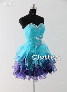 Custom Made Ball Gown Blue / Purple Short Prom by MsClothes