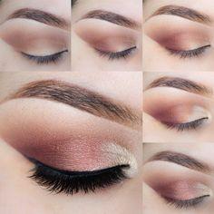 Maquillaje de ojos romántico paso a paso en rosa vintage