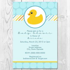Printable Baby Shower Rubber Duck Invitation on Etsy, $5.00