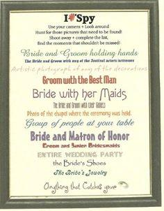 I Spy Photo Game For Reception | Weddings, Do It Yourself, Fun Stuff, Planning | Wedding Forums | WeddingWire
