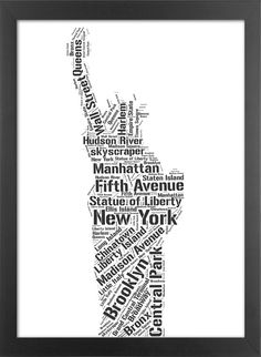 Statue of Liberty Typography Print - New York - Home Wall Office Decor - Perfect gift - 8.3 x 11.7in(A4). $16.00, via Etsy.
