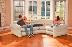 inflatable sectional sofa corner living room intex comfortable couch college