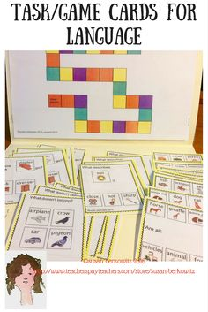 Task/Game Cards for Language for Speech and Language Therapy, for ELA for a variety of receptive and expressive language. $ Includes categories, associations, adjectives, synonyms, antonyms, homophones, compare/contrast, and more!