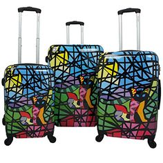 Luggage Sets Collections | Chariot Stained Art 3Piece Hardside Lightweight Spinner Luggage Set Glass Cat -- Learn more by visiting the image link. Note:It is Affiliate Link to Amazon.