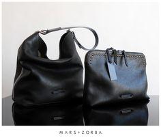 Mars+Zorba Olympia Black Hobo + Gigi Black Clutch *studs #calfskin #leather #studs #hobo #clutch #handbags #handbag #tote #sobre #carteras #cuero #fashion #buenosaires #design
